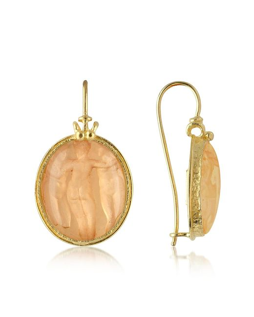 Tagliamonte | Pink Three Graces - 18k Gold Mother Of Pearl Cameo Earrings | Lyst