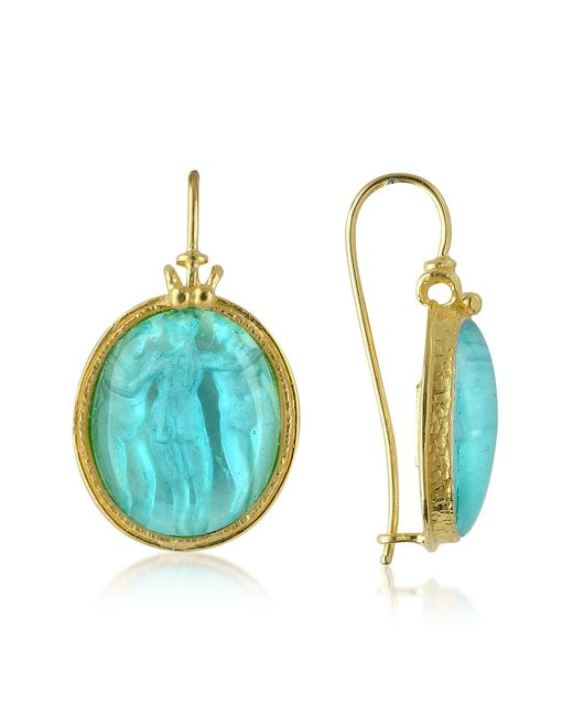 Tagliamonte | Blue Three Graces - 18k Gold Mother Of Pearl Cameo Earrings | Lyst