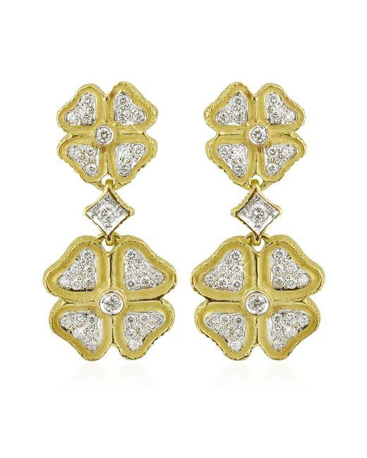 Torrini | Metallic Quadrifoglio Diamond Four-leaf Clover 18k Gold Earrings | Lyst