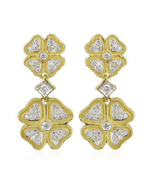 Torrini | Green Quadrifoglio Diamond Four-leaf Clover 18k Gold Earrings | Lyst