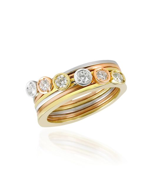 Torrini | Metallic Bezel-set Diamond Three-tone 18k Gold Stackable Ring - Set Of Six | Lyst