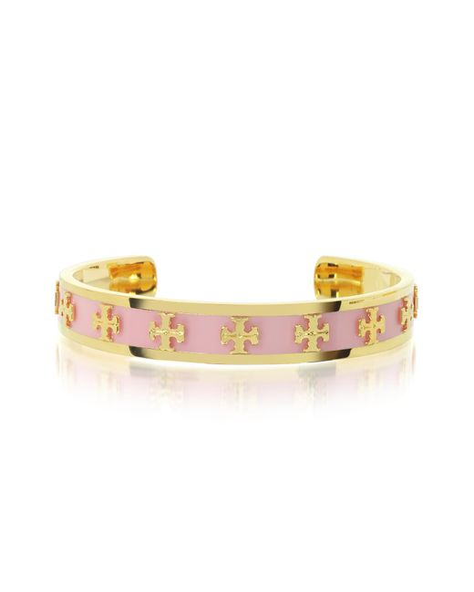 Tory Burch | Pink Tory Gold Brass And Enamel Raised Logo Bangle | Lyst
