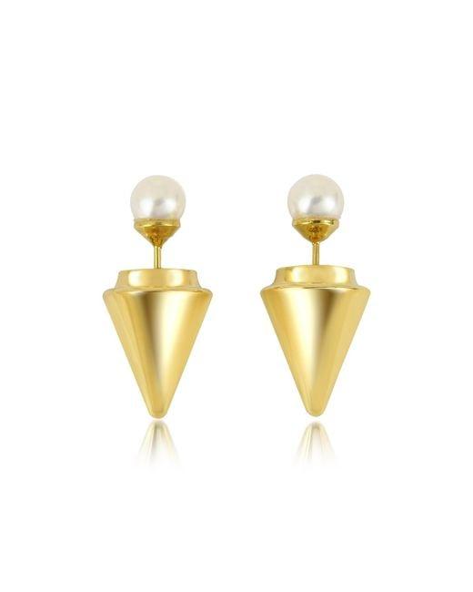 Vita Fede | Metallic Gold Plated Double Titan Pearl Earrings W/akoya Pearls | Lyst