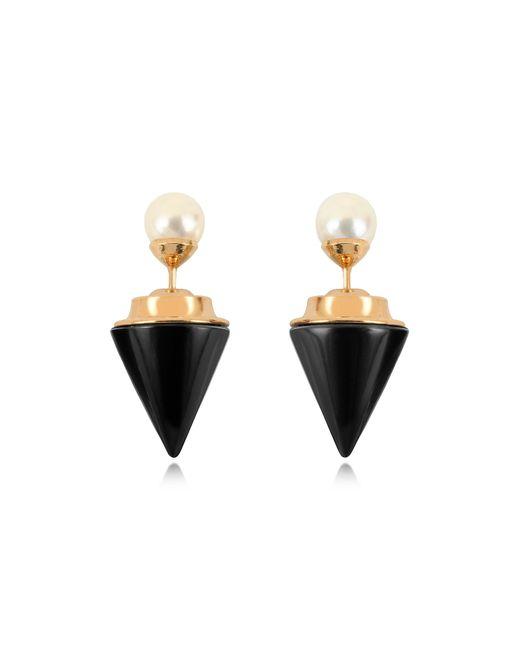 Vita Fede - Metallic Double Titan Stone Pearl Earrings W/akoya Pearls - Lyst