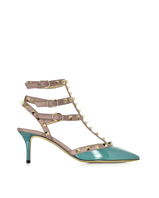 Valentino | Natural Rockstud Turquoise Patent Leather Mid Heel Ankle Strap Pump | Lyst