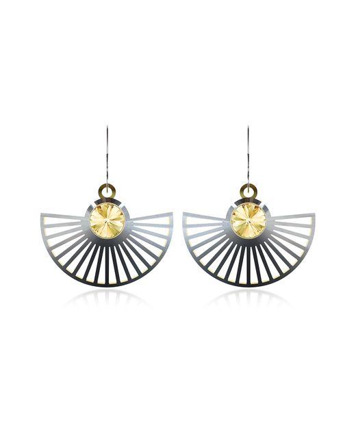 Vojd Studios | Black Phase Precious Sterling Silver Fan Dangle Earrings | Lyst