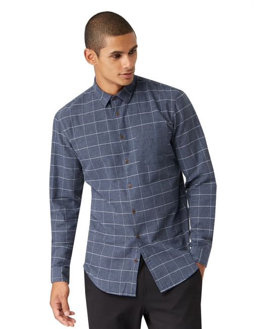 Frank oak elbow patch windowpane flannel shirt in navy for Frank and oak shirt