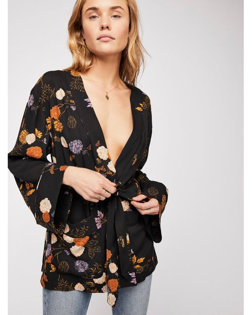 Free People - Blue Wrap It Up Floral Jacket - Lyst
