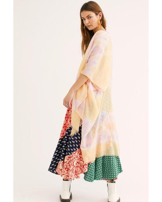 Free People - Yellow Gravity Tie Dye Kimono - Lyst