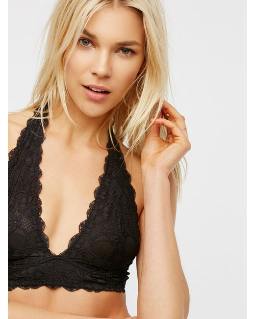 Free People | Black Galloon Lace Halter Bra | Lyst