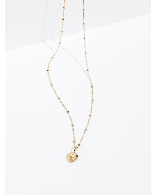 Free People | Metallic 14k Double Face Heart Necklace | Lyst