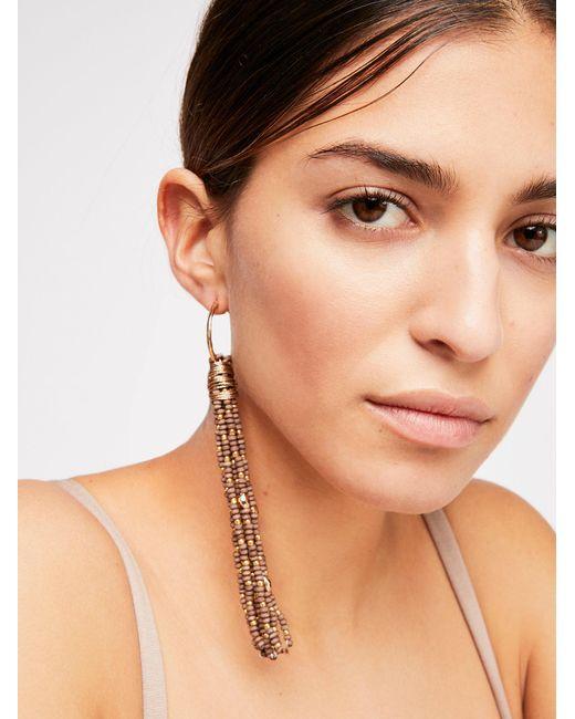 Free People - Brown Ibiza Beaded Hoop Earrings - Lyst