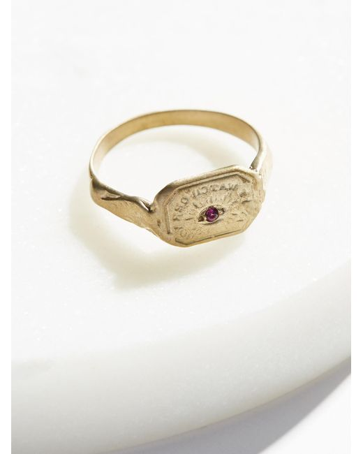 Free People | Metallic Engraved Wax Seal Stone Ring | Lyst