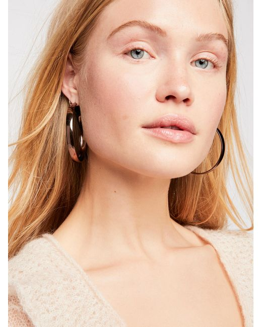 Free People - Brown Flat Edge Hoop Earrings - Lyst