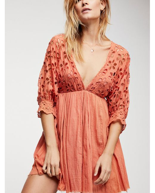 Free People - Orange Bella Note Eyelet Mini Dress - Lyst