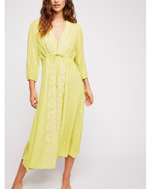 Free People - Yellow Embroidered Fable Midi Dress - Lyst