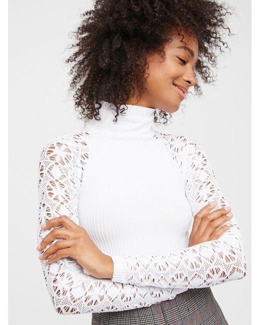 Free People | Multicolor Rib And Lace Turtleneck | Lyst