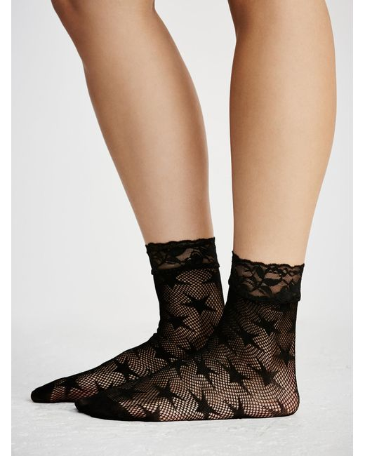 Free People - Black Count Your Stars Net Anklet - Lyst