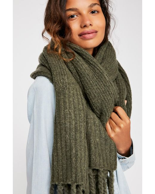 Free People - Green Jaden Ribbed Fringe Blanket Scarf - Lyst