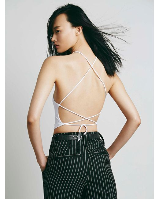 Free People - White Lace Up Brami - Lyst