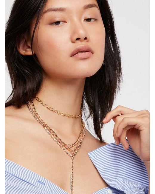Free People | Metallic Layla Delicate Chain Bolo | Lyst
