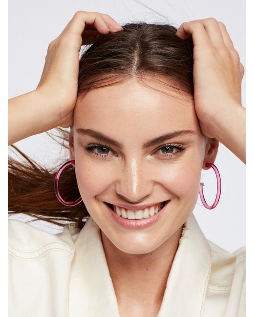 Free People | Pink Lucite Tube Hoops | Lyst