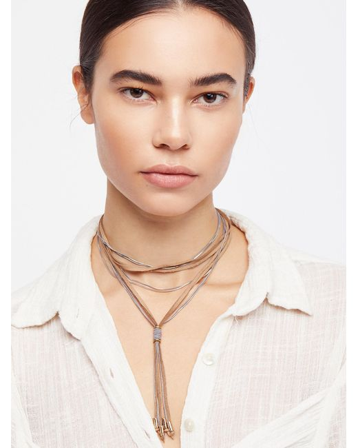 Free People - Metallic Gilded Chain Bolo Necklace - Lyst