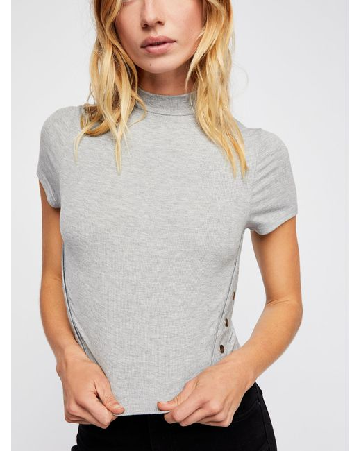 Free People - Gray Snap Back Tee Solid - Lyst