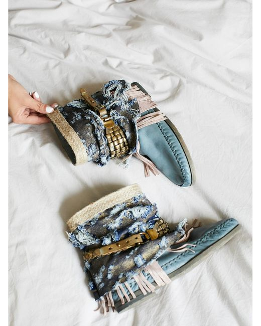 Free People | Blue Ibiza Moccasin Boot | Lyst