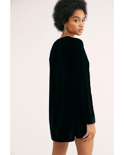 Free People - Black Always Forever Velvet Mini Dress - Lyst