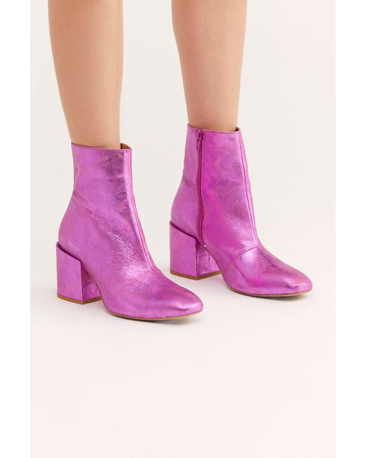 909cba625341 Free People - Pink Metallic Nicola Heel Boot By Fp Collection - Lyst ...