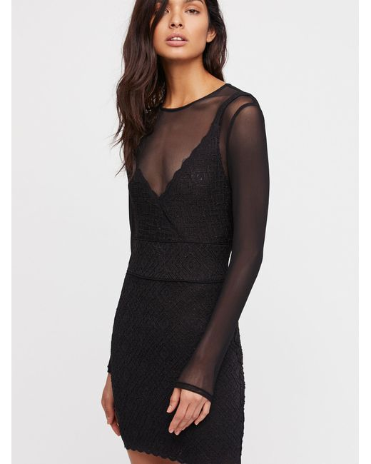 Free People | Black Clothes Dresses Bodycon Dresses Jeanne Twofer Bodycon | Lyst