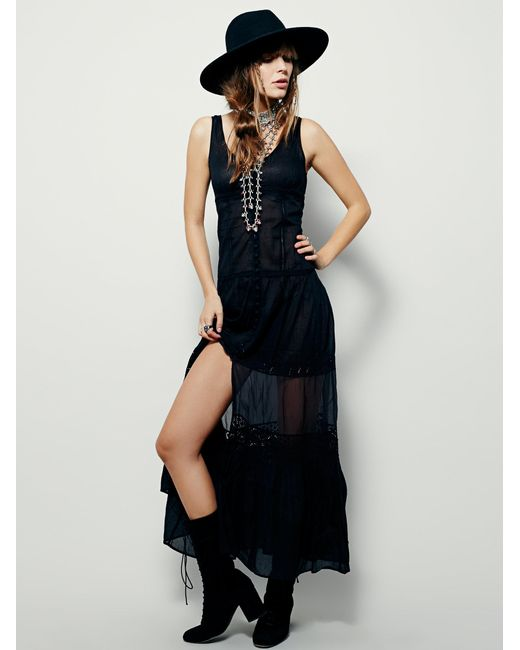 Free People   Black Victoria Buttonfront Maxi   Lyst