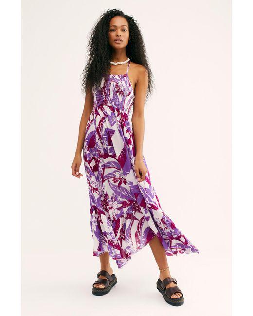 a24581efd225e Free People - Purple Heat Wave Printed Maxi Slip - Lyst ...