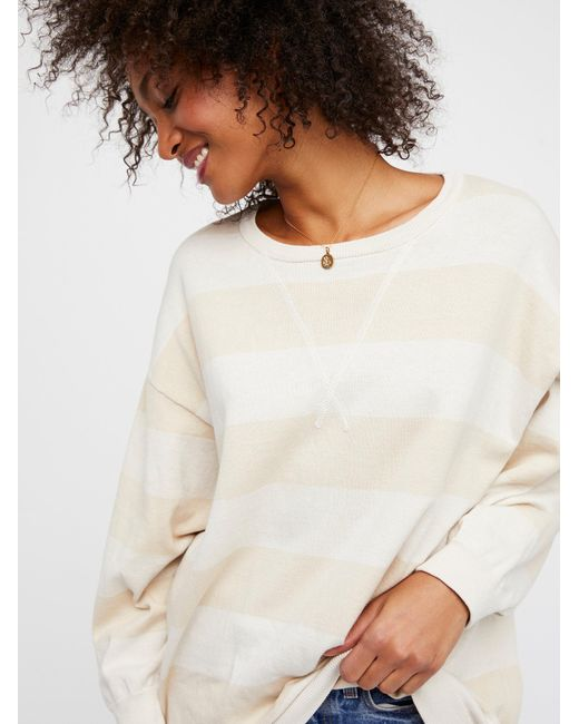 Free People - White Surfin' On Your Stripes Sweater - Lyst
