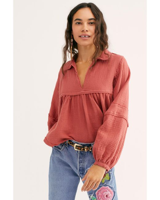 aae9438a66d5d Free People - Orange We The Free Silver Lining Shirt - Lyst ...