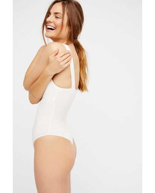 89ee71a65b ... Free People - White Pippa V-wire Bodysuit By Intimately - Lyst ...