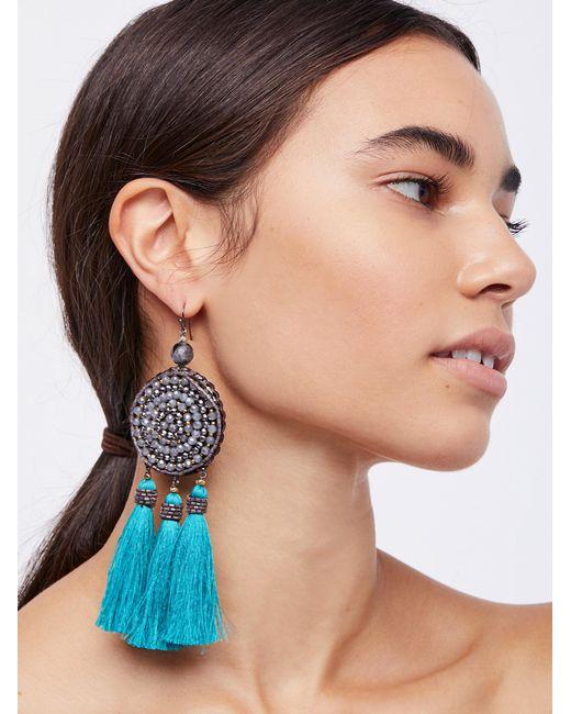 Free People | Blue Winona Embellished Tassel Earrings | Lyst