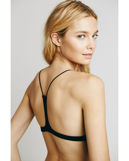 f6b0aa8727229 ... Free People - Black Skinny Strap Bralette By Intimately - Lyst ...