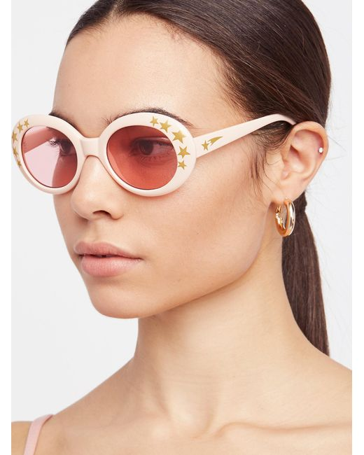 Free People - Pink Outta Sight Star Print Sunglasses - Lyst