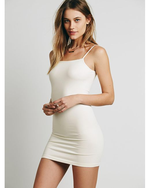Free People - White Seamless Low Back Mini Slip - Lyst