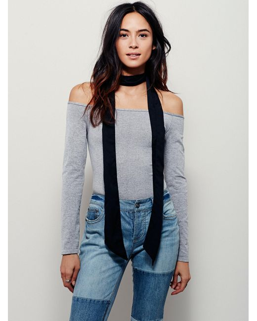 Free People | Gray Off The Shoulder Solid Top | Lyst