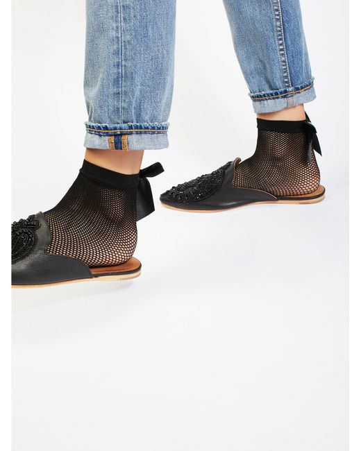Free People | Black Bow Fishnet Anklet | Lyst