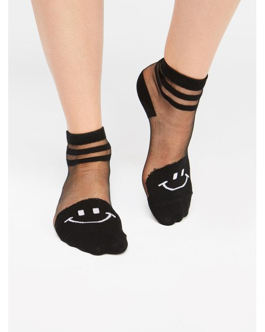 Free People - Black Happy Face Anklet - Lyst