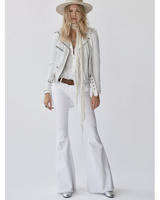 Free People | White Denim Super Flare | Lyst
