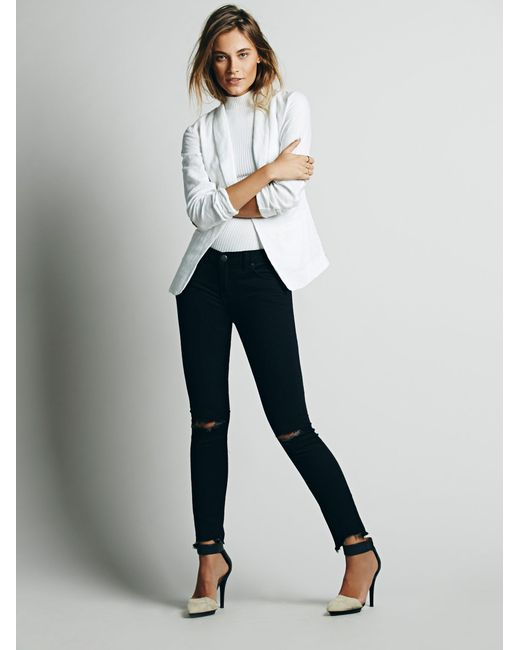 Free People | Black Destroyed Ankle Skinny | Lyst