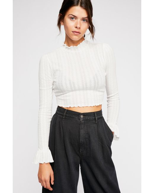 Free People - White Once More Crop Long Sleeve Top By Intimately - Lyst ... a666e69de