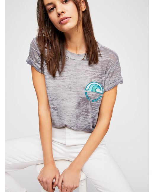 Free People - Gray We The Free Waves Tee - Lyst