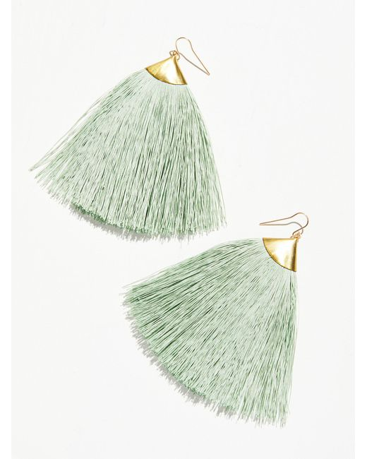 Free People | Green Dusting Tassel Earrings | Lyst