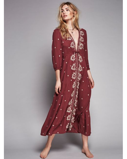 Free People Embroidered Fable Dress In Red Fig Combo Lyst
